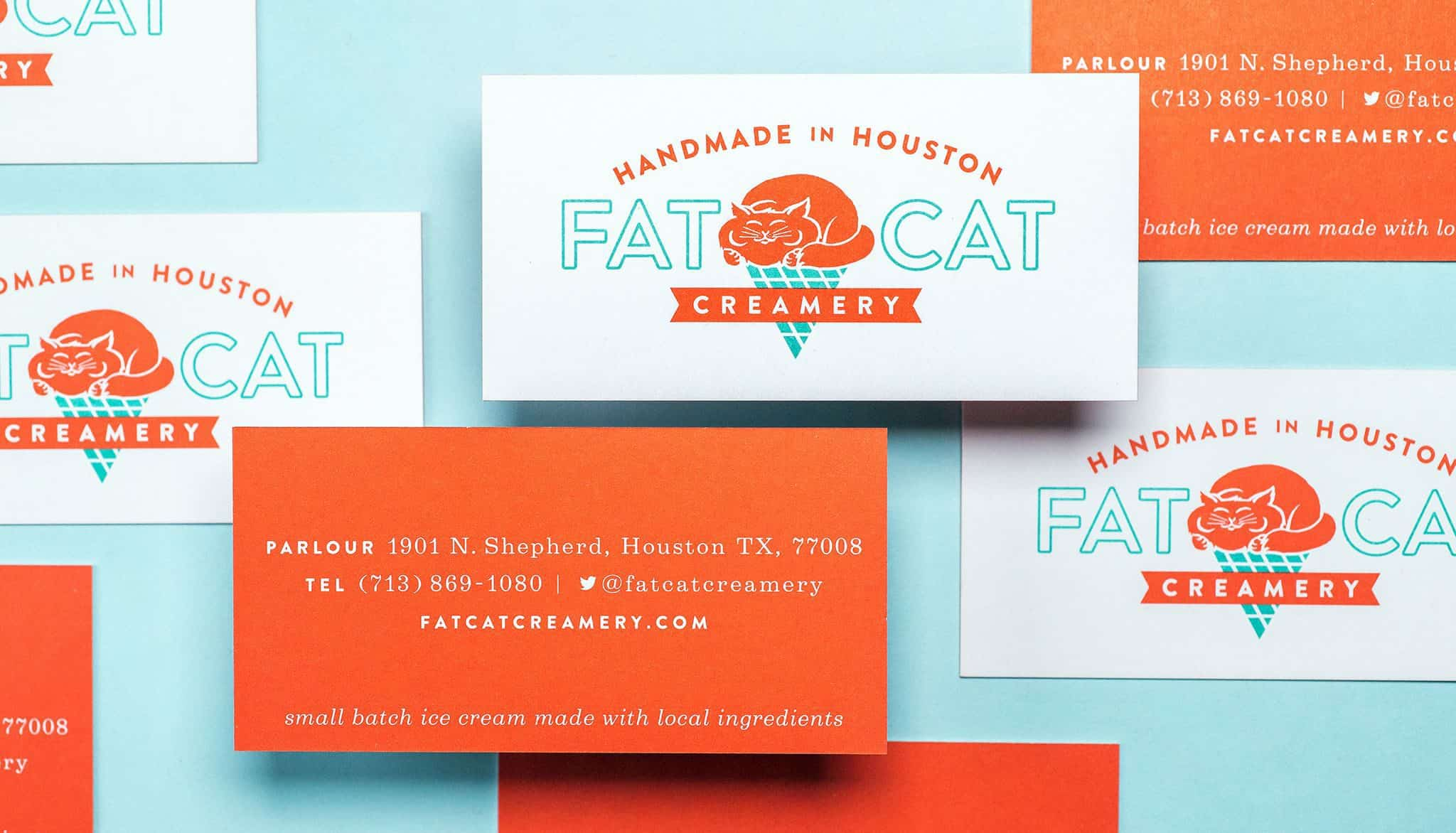 Business card and stationery for Fat Cat Creamery | Designed by Field of Study: A branding and graphic design consultancy | Houston TX | Jennifer Blanco & John Earles