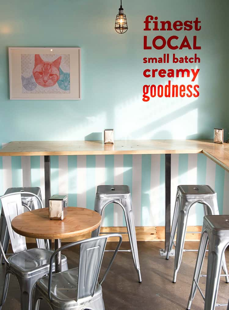 Hand painted signage and interior space design for Fat Cat Creamery | Designed by Field of Study: A branding and graphic design consultancy | Houston TX | Jennifer Blanco & John Earles