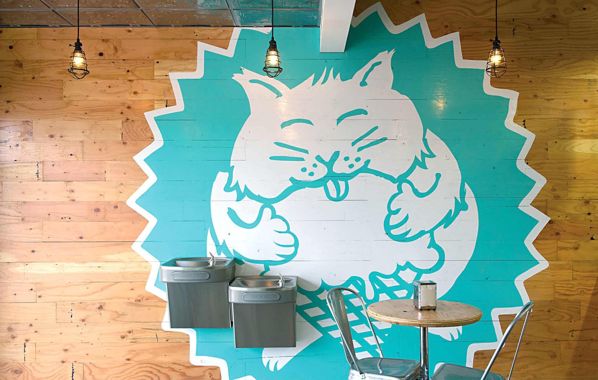 Hand painted environmental graphics for Fat Cat Creamery | Designed by Field of Study: A branding and graphic design consultancy | Houston TX | Jennifer Blanco & John Earles