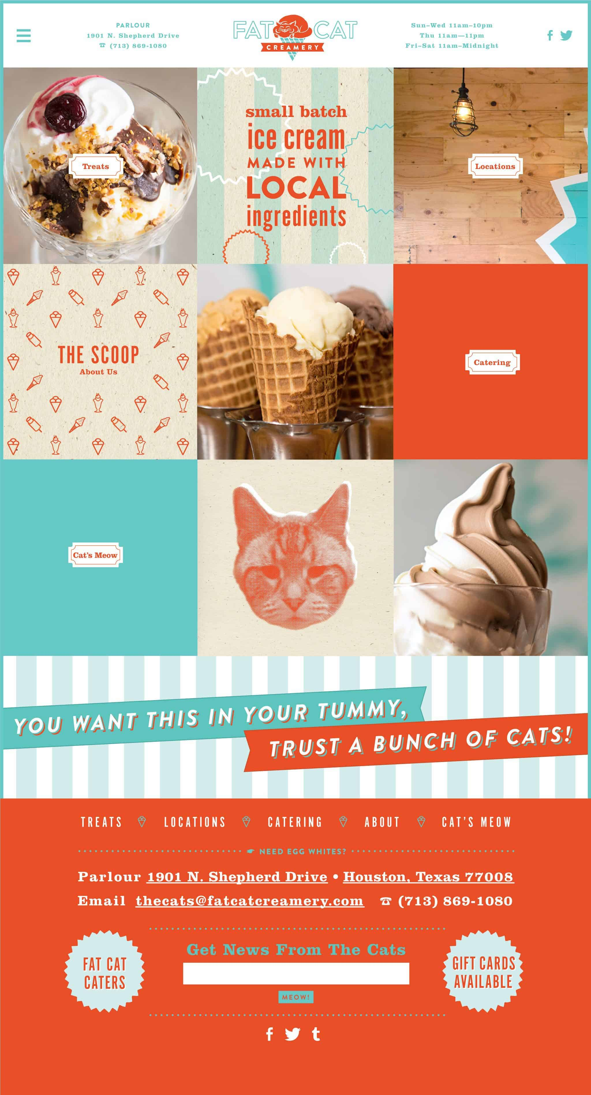Website homepage layout for Fat Cat Creamery | Designed by Field of Study: A branding and graphic design consultancy | Houston TX | Jennifer Blanco & John Earles