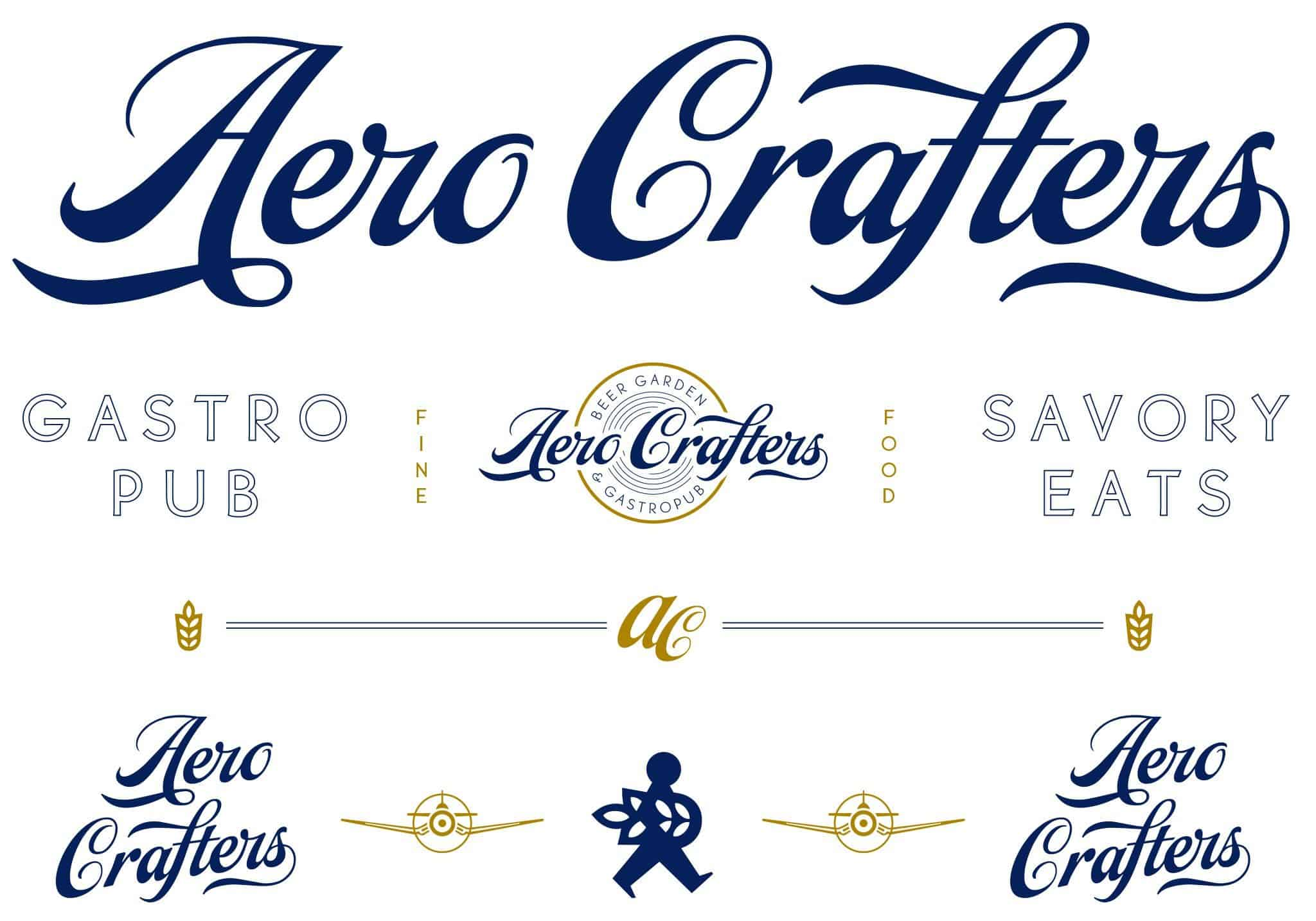Logo Marks and variations for Aero Crafters Beer Garden, Victoria | Designed by Field of Study: A branding and graphic design consultancy | Houston TX | Jennifer Blanco & John Earles