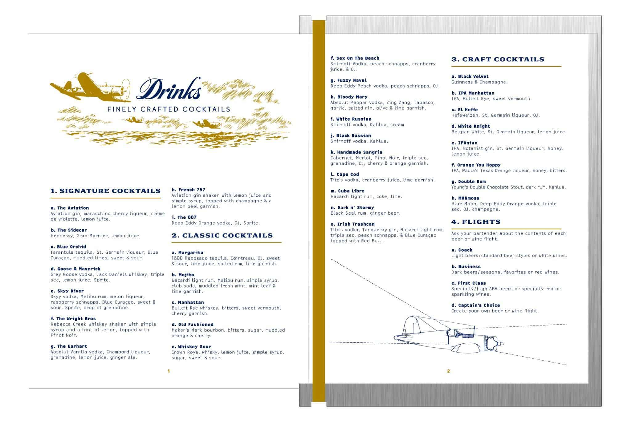 Drinks menu design for Aero Crafters Beer Garden, Victoria | Designed by Field of Study: A branding and graphic design consultancy | Houston TX | Jennifer Blanco & John Earles