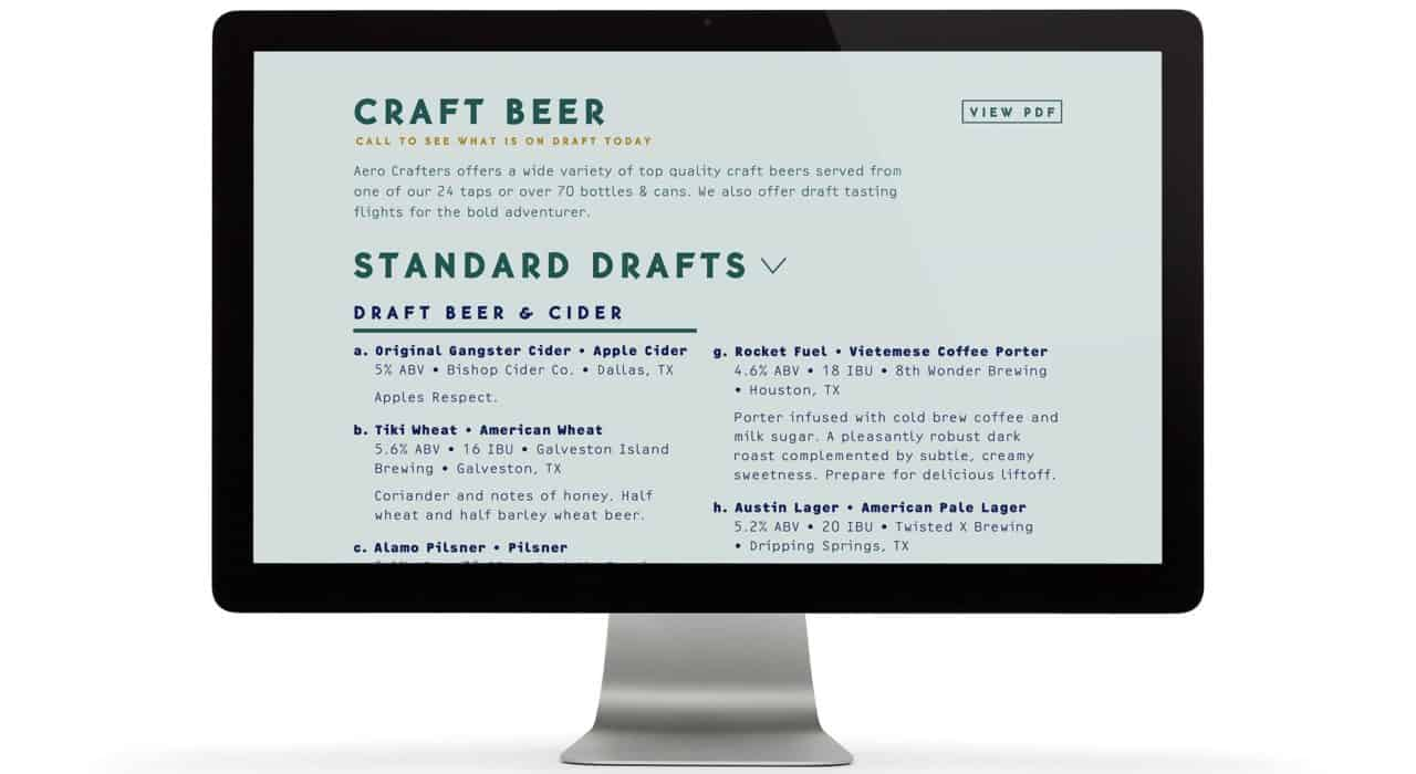Website design and development for Aero Crafters Beer Garden, Victoria | Designed by Field of Study: A branding and graphic design consultancy | Houston TX | Jennifer Blanco & John Earles