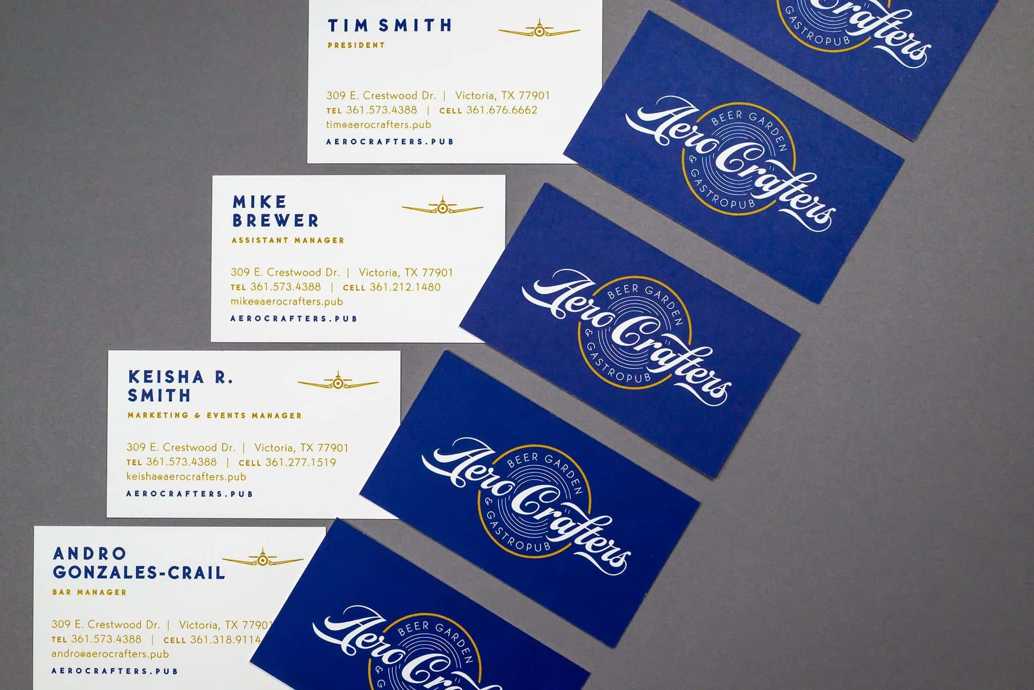 Stationery and business cards for Aero Crafters Beer Garden, Victoria | Designed by Field of Study: A branding and graphic design consultancy | Houston TX | Jennifer Blanco & John Earles