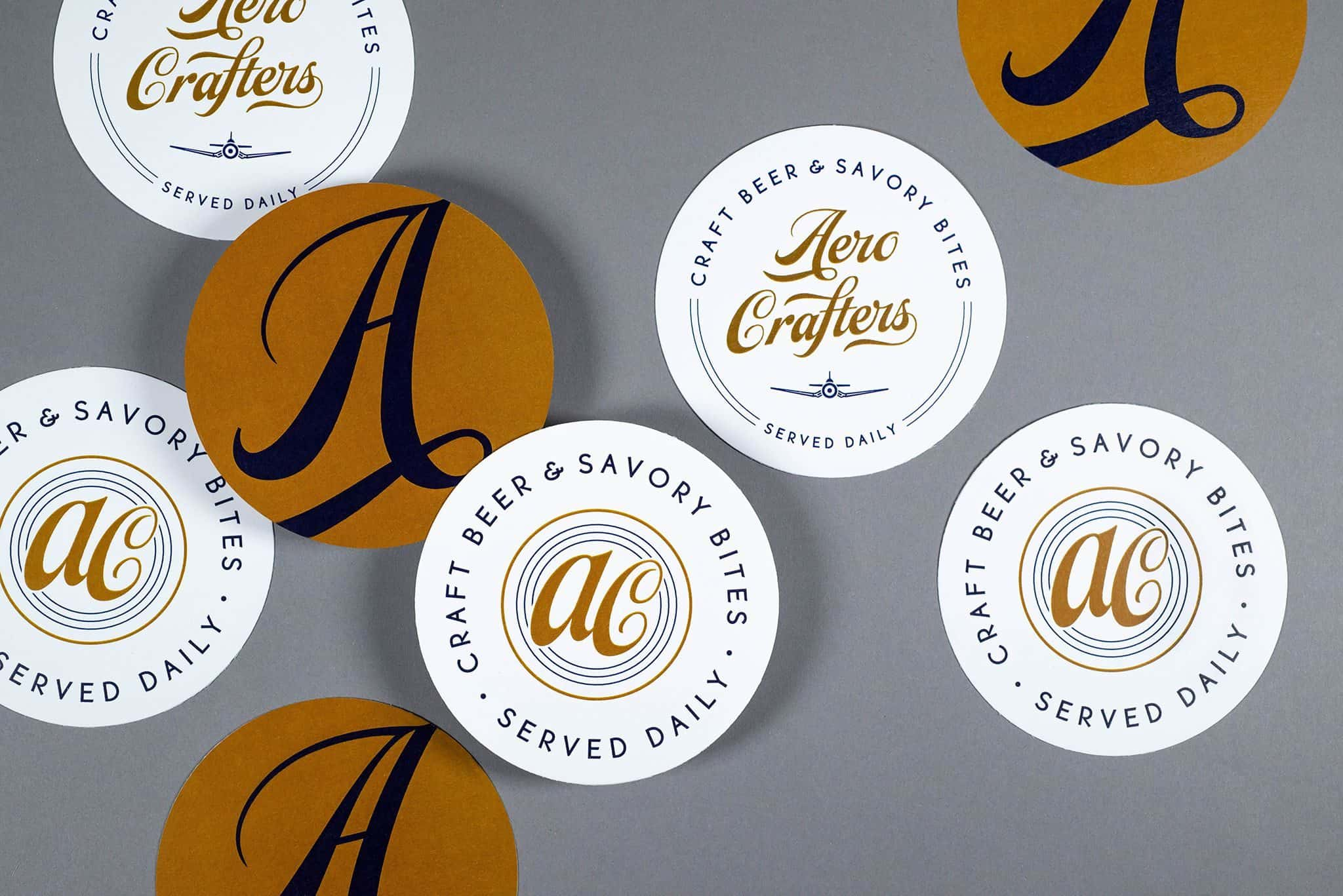 Custom Beer Coasters | Brand development, signage, and graphic design for Aero Crafters Beer Garden & Gastropub, Victoria, Texas | Field of Study: A Design & Branding Consultancy.
