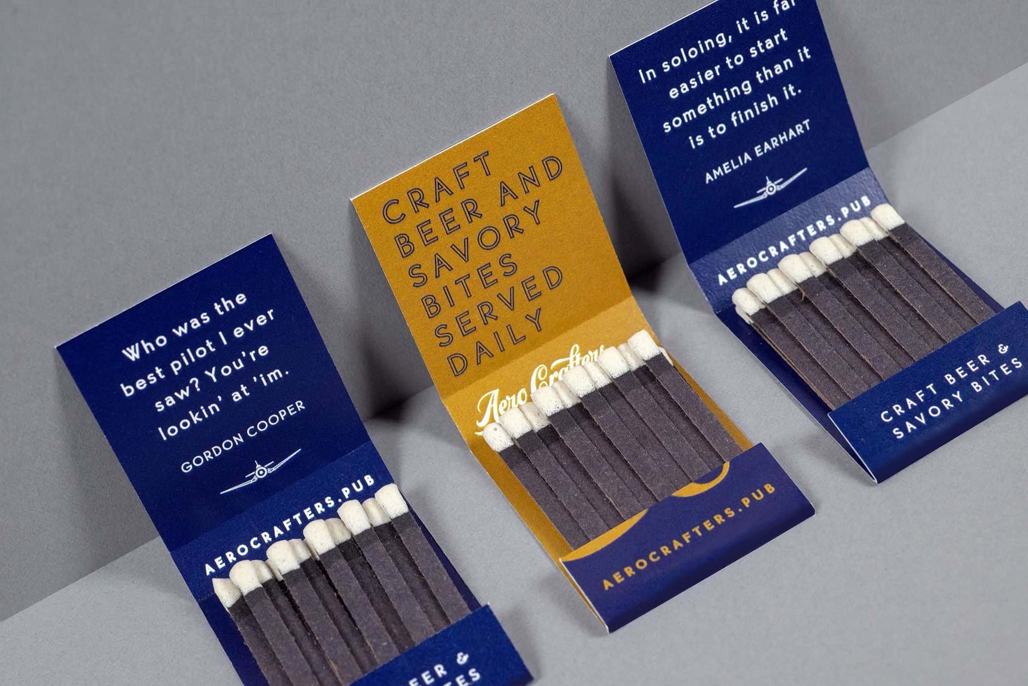 Custom matchbook set for Aero Crafters Beer Garden, Victoria | Designed by Field of Study: A branding and graphic design consultancy | Houston TX | Jennifer Blanco & John Earles