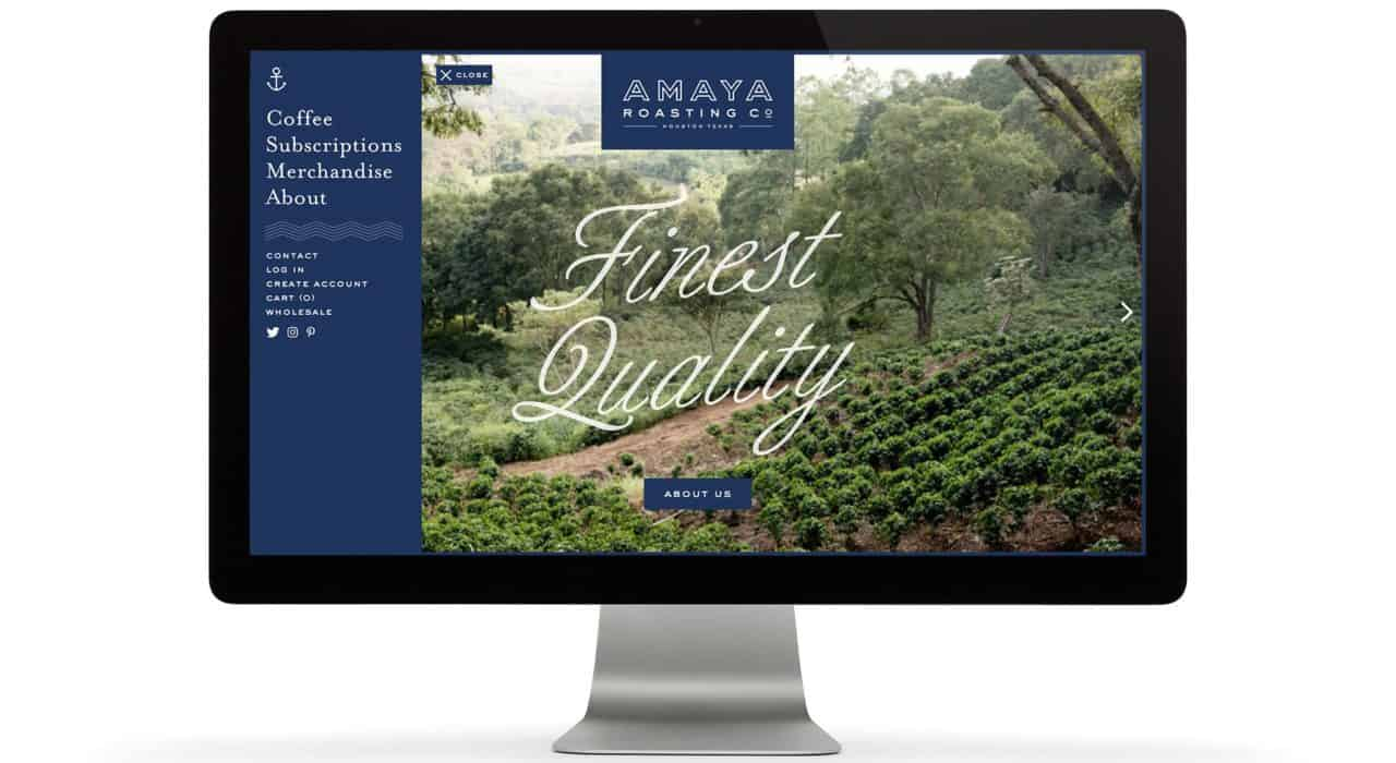 Navigation menu, Custom Shopify Website Design and development for Amaya Roasting Co | Designed by Field of Study: A branding and graphic design consultancy | Houston TX | Jennifer Blanco & John Earles