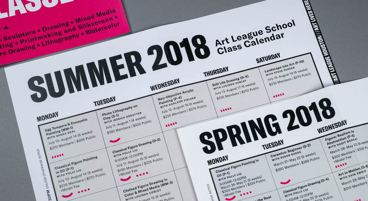 Educational calendar design for Art League Houston | Designed by Field of Study: A branding and graphic design consultancy | Houston TX | Jennifer Blanco & John Earles