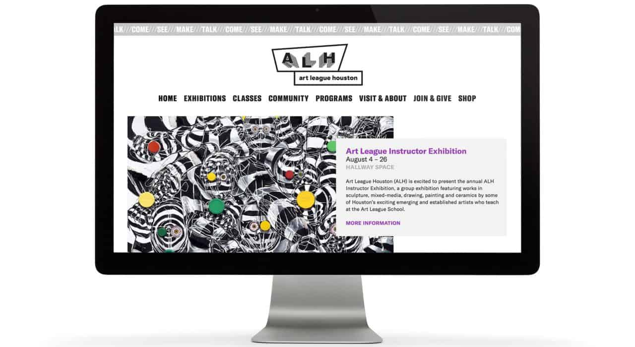 Website design for Art League Houston | Designed by Field of Study: A branding and graphic design consultancy | Houston TX | Jennifer Blanco & John Earles