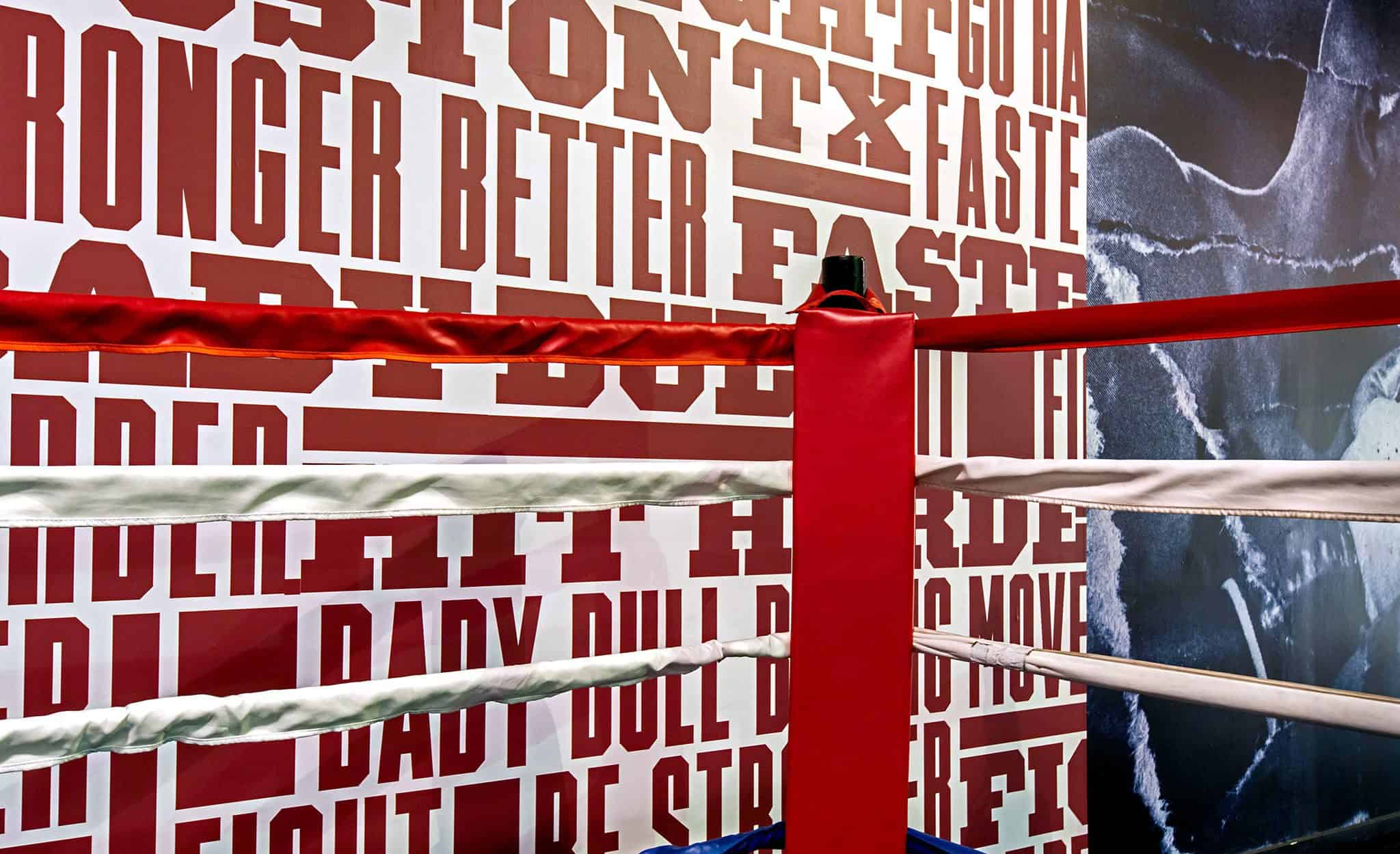 Typographic wall graphics for Baby Bull Boxing | Designed by Field of Study: A branding and graphic design consultancy | Houston TX | Jennifer Blanco & John Earles