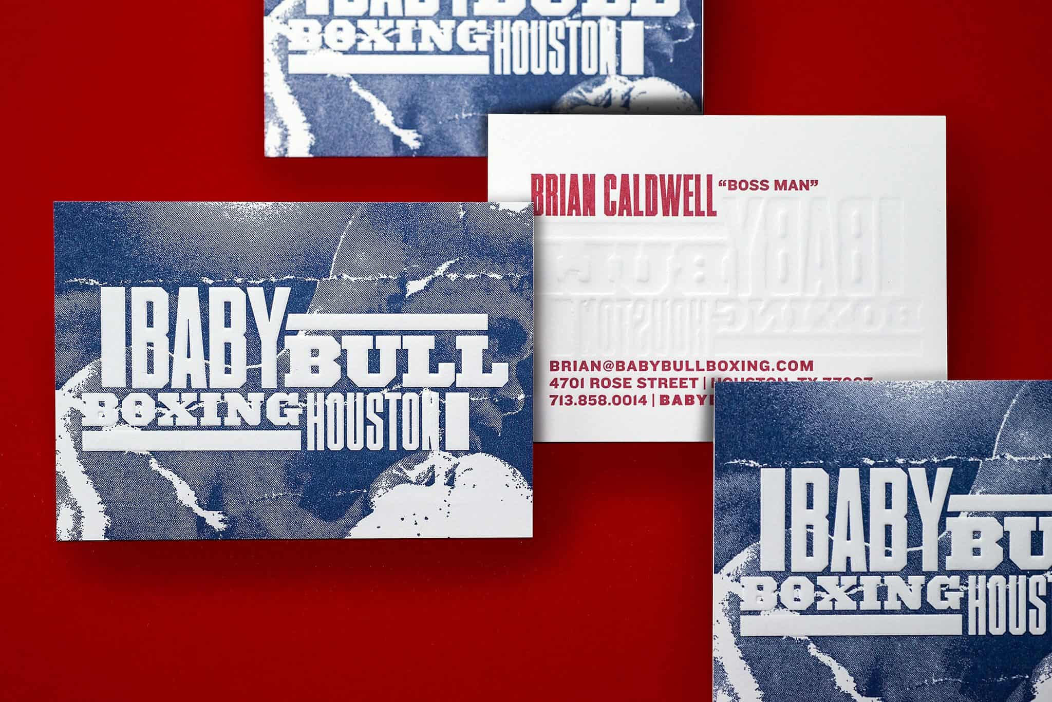 Embossed and letterpress printed business cards for Baby Bull Boxing | Designed by Field of Study: A branding and graphic design consultancy | Houston TX | Jennifer Blanco & John Earles