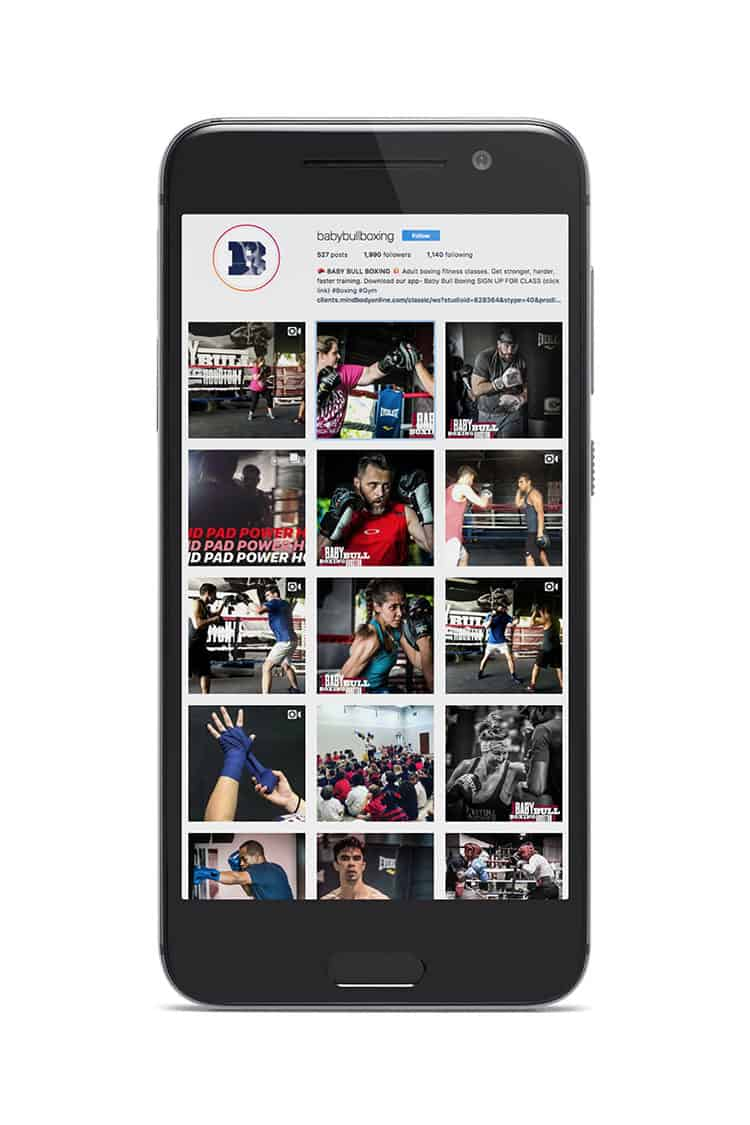 Social media feed for Baby Bull Boxing | Designed by Field of Study: A branding and graphic design consultancy | Houston TX