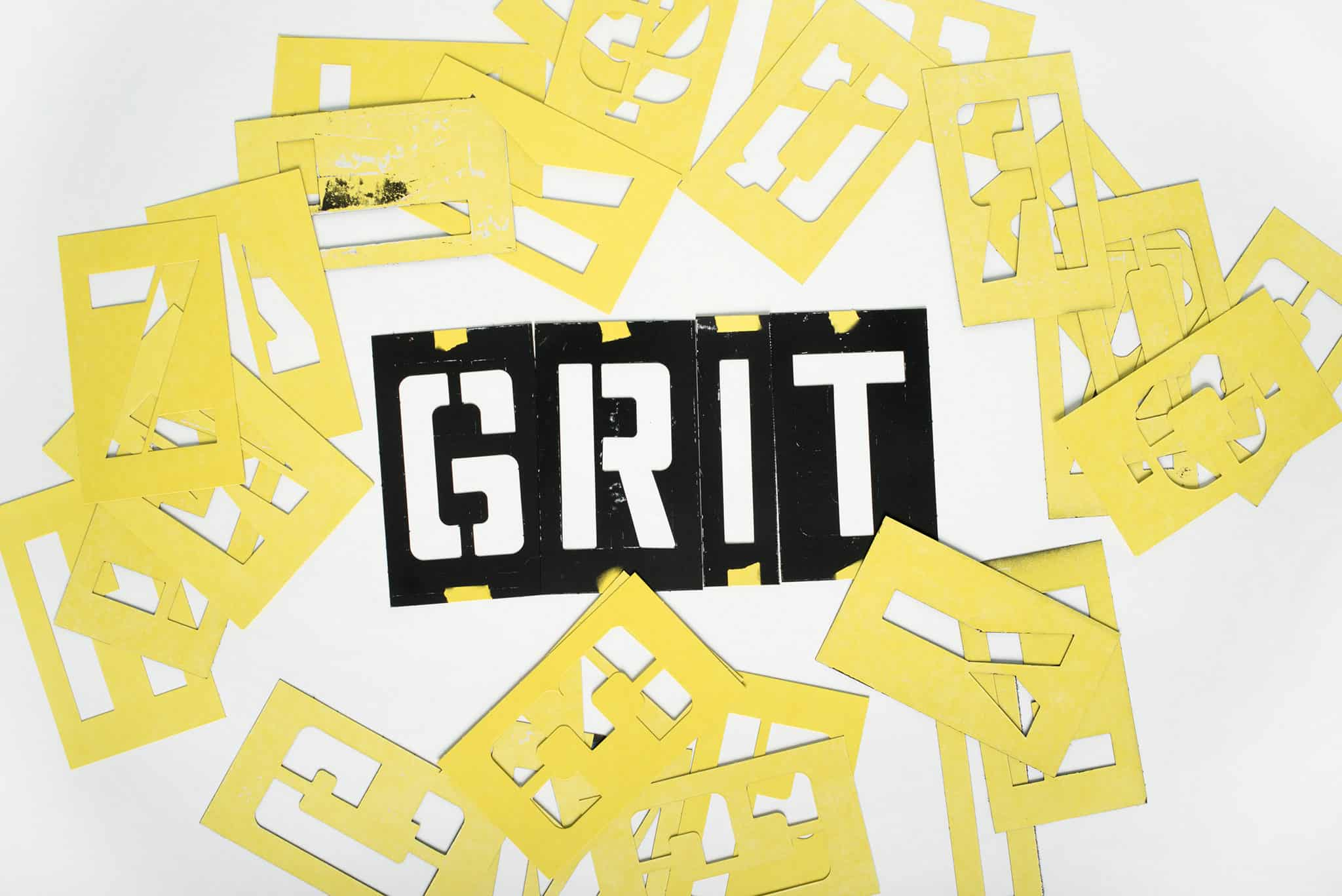 Stencils used to create logo design for Grit Grocery | Designed by Field of Study: A branding and graphic design consultancy | Houston TX | Jennifer Blanco & John Earles