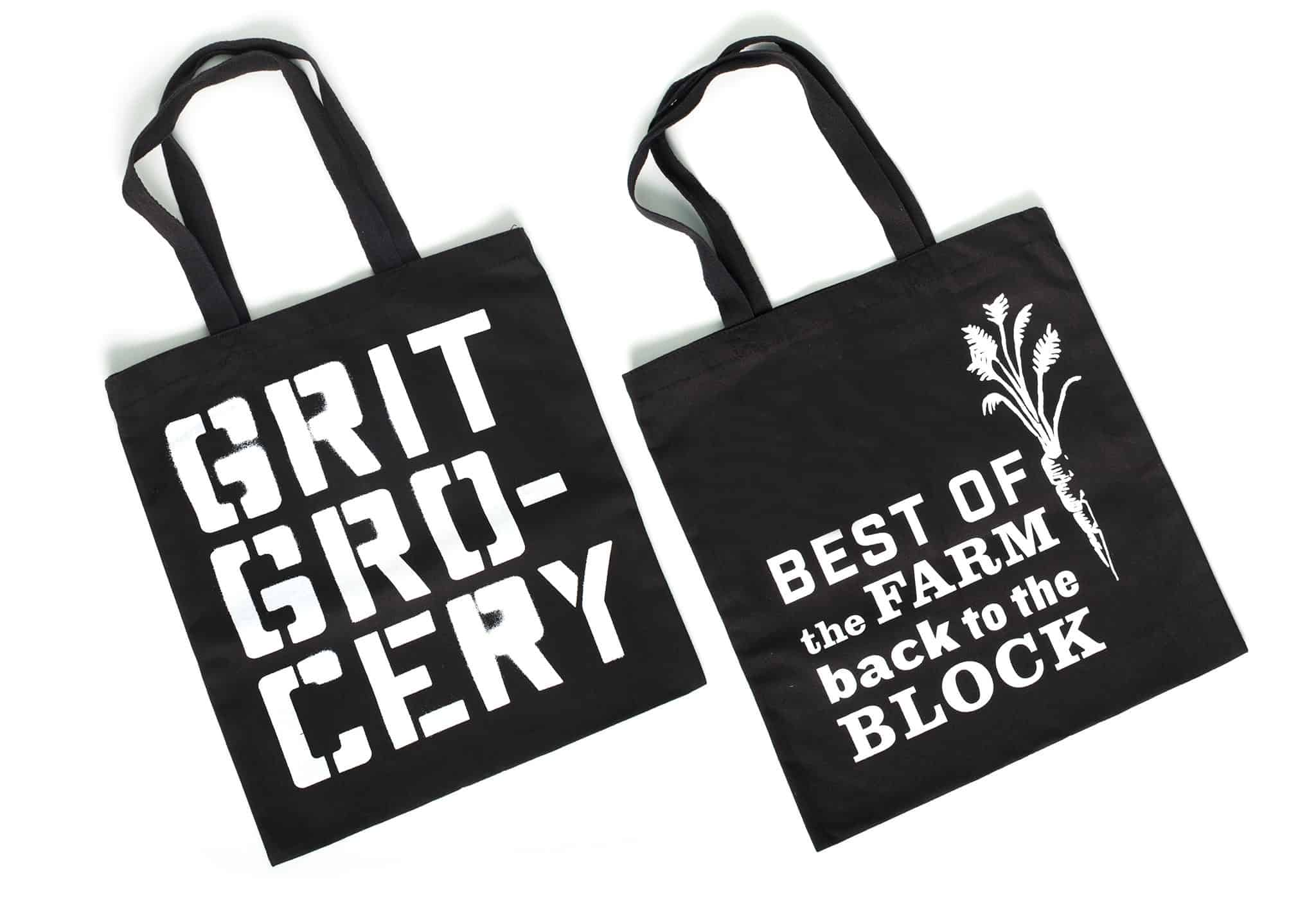 Silkscreened reusable tote bags for Grit Grocery | Designed by Field of Study: A branding and graphic design consultancy | Houston TX | Jennifer Blanco & John Earles
