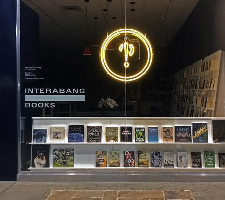 Neon exterior signage for Interabang Books, Dallas | Designed by Field of Study: A branding and graphic design consultancy | Houston TX | Jennifer Blanco & John Earles