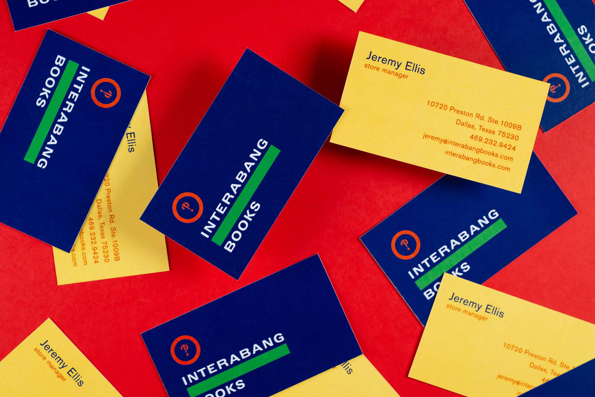 Stationery and business cards for Interabang Books, Dallas | Designed by Field of Study: A branding and graphic design consultancy | Houston TX | Jennifer Blanco & John Earles