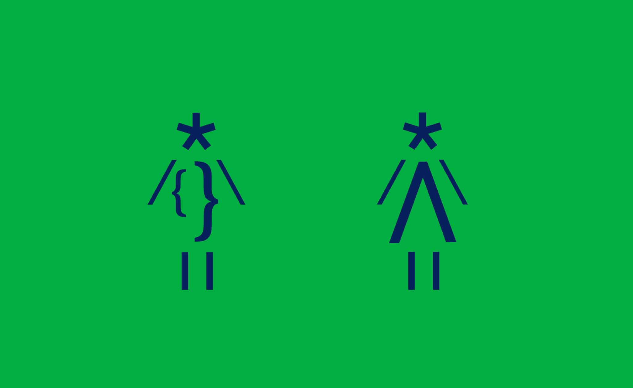 Typographic restroom signage icons for Interabang Books, Dallas | Designed by Field of Study: A branding and graphic design consultancy | Houston TX | Jennifer Blanco & John Earles