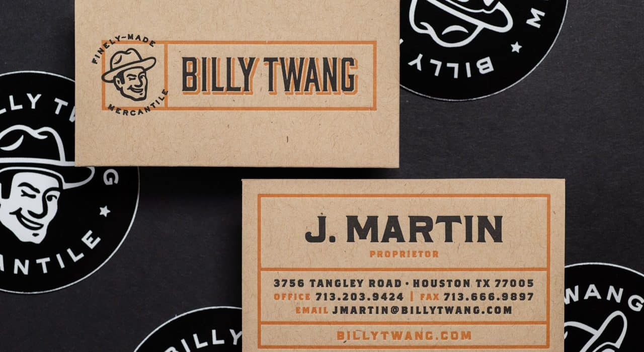 Letterpress printed business cards for Billy Twang Mercantile, Los Angeles, CA | Designed by Field of Study: A branding and graphic design consultancy | Houston TX | Jennifer Blanco & John Earles