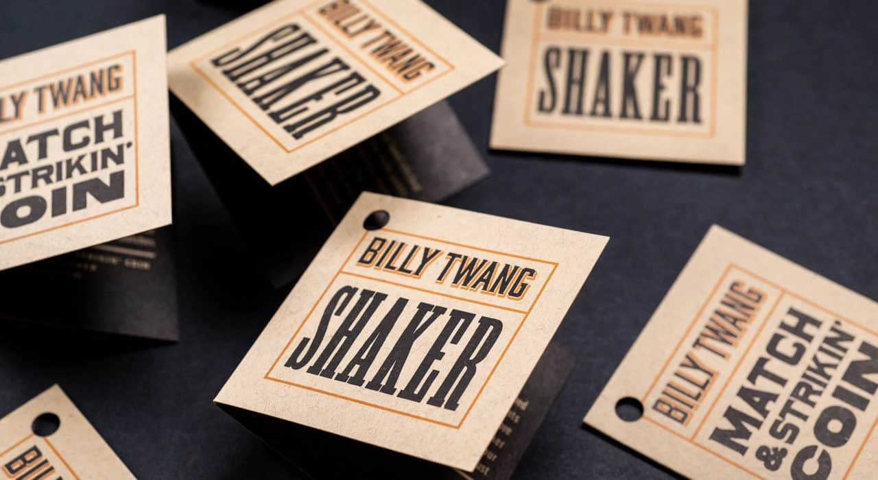 Product hangtags for Billy Twang Mercantile, Los Angeles, CA | Designed by Field of Study: A branding and graphic design consultancy | Houston TX | Jennifer Blanco & John Earles