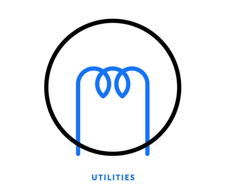Utilities icon for Element Blue | Designed by Field of Study: A branding and graphic design consultancy | Houston TX | Jennifer Blanco & John Earles