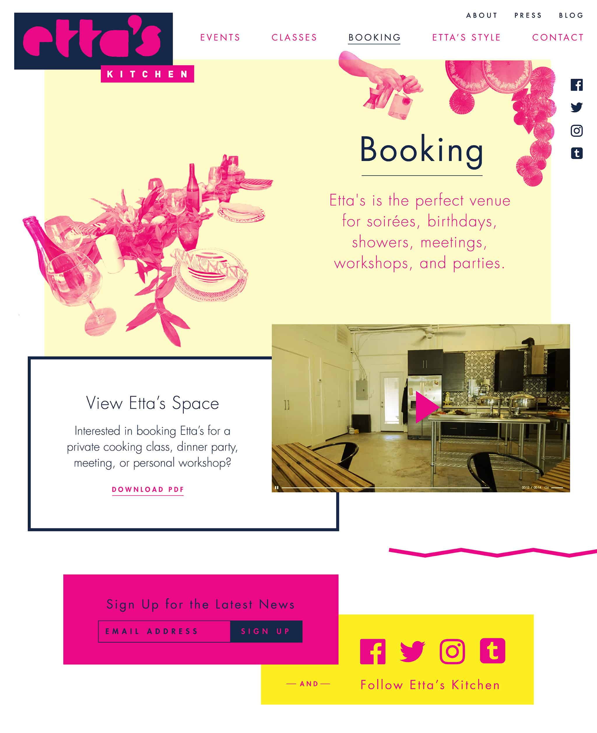 Website booking page for Etta's Kitchen | Designed by Field of Study: A branding and graphic design consultancy | Houston TX | Jennifer Blanco & John Earles