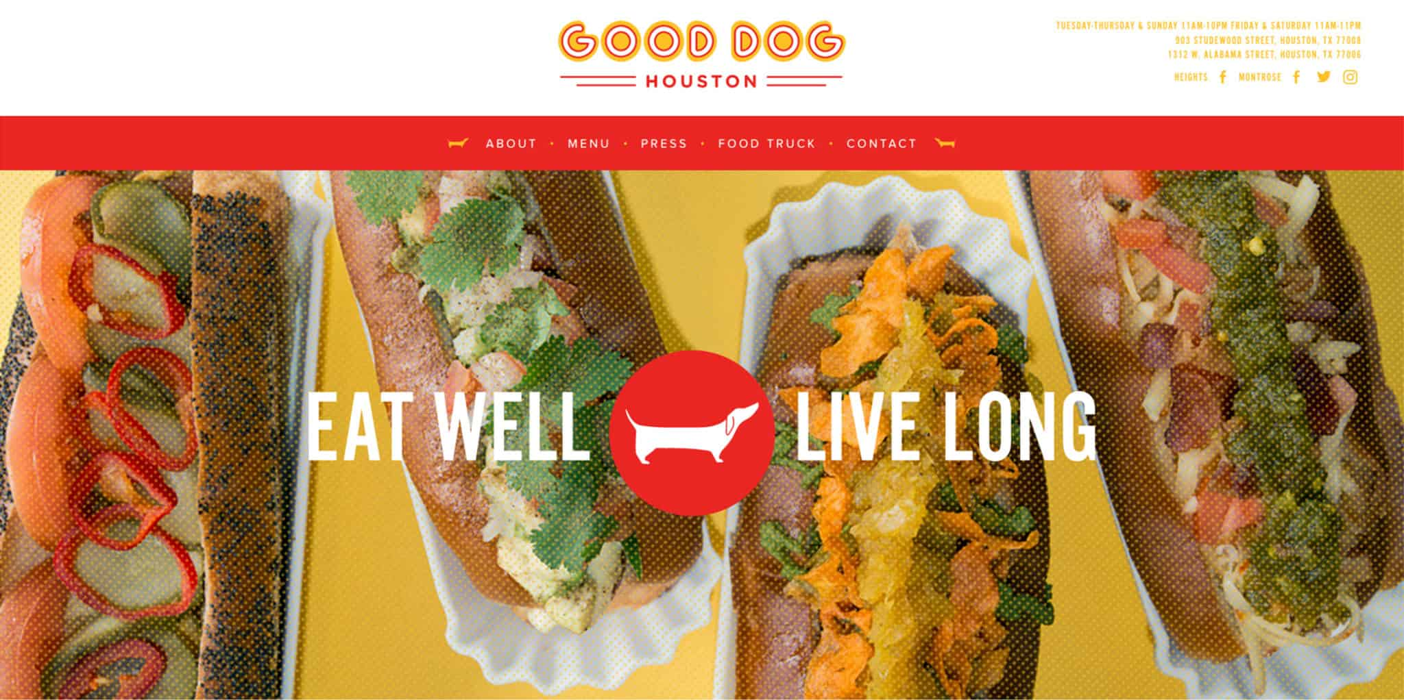 Homepage, Wordpress website design and development for Good Dog Houston | Designed by Field of Study: A branding and graphic design consultancy | Houston TX | Jennifer Blanco & John Earles