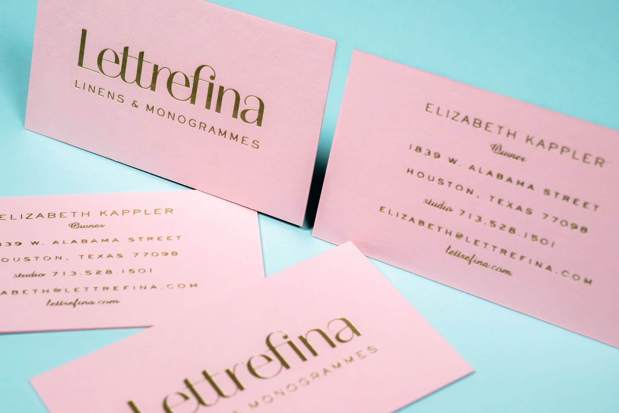 Foil stamped business cards for Lettrefina Linens & Monogrammes | Designed by Field of Study: A branding and graphic design consultancy | Houston TX | Jennifer Blanco & John Earles