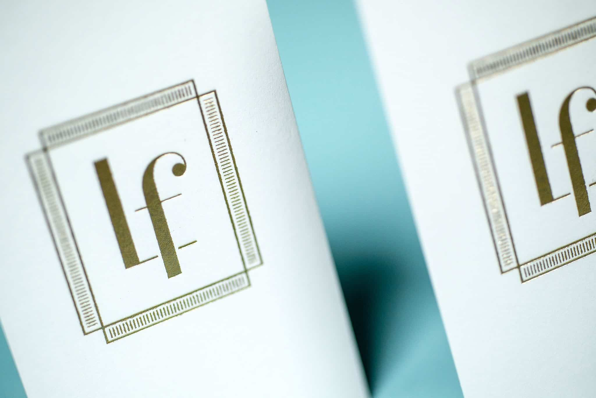 Foil stamped product tags for Lettrefina Linens & Monogrammes | Designed by Field of Study: A branding and graphic design consultancy | Houston TX | Jennifer Blanco & John Earles