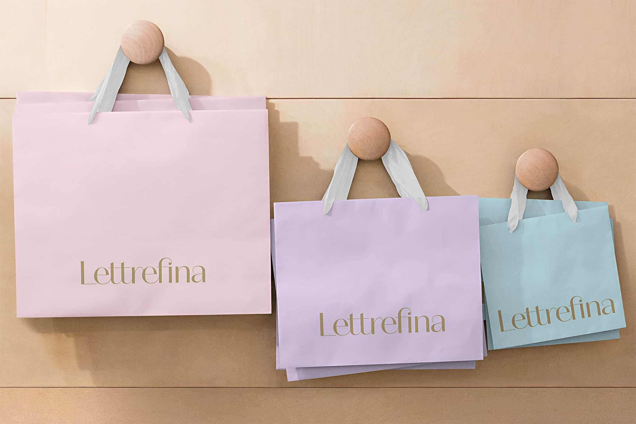 Custom shopping bags for Lettrefina Linens & Monogrammes | Designed by Field of Study: A branding and graphic design consultancy | Houston TX | Jennifer Blanco & John Earles