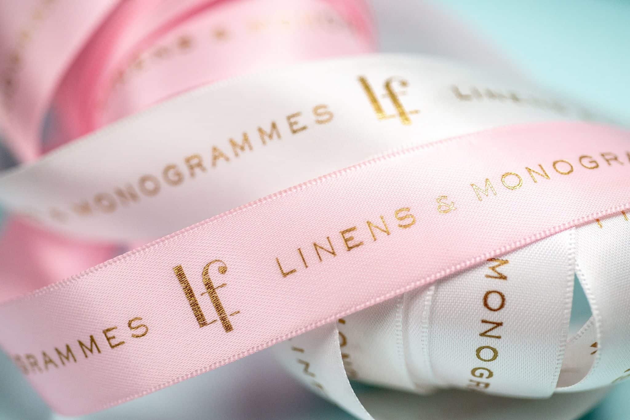 Custom foil stamped ribbon for Lettrefina Linens & Monogrammes | Designed by Field of Study: A branding and graphic design consultancy | Houston TX | Jennifer Blanco & John Earles