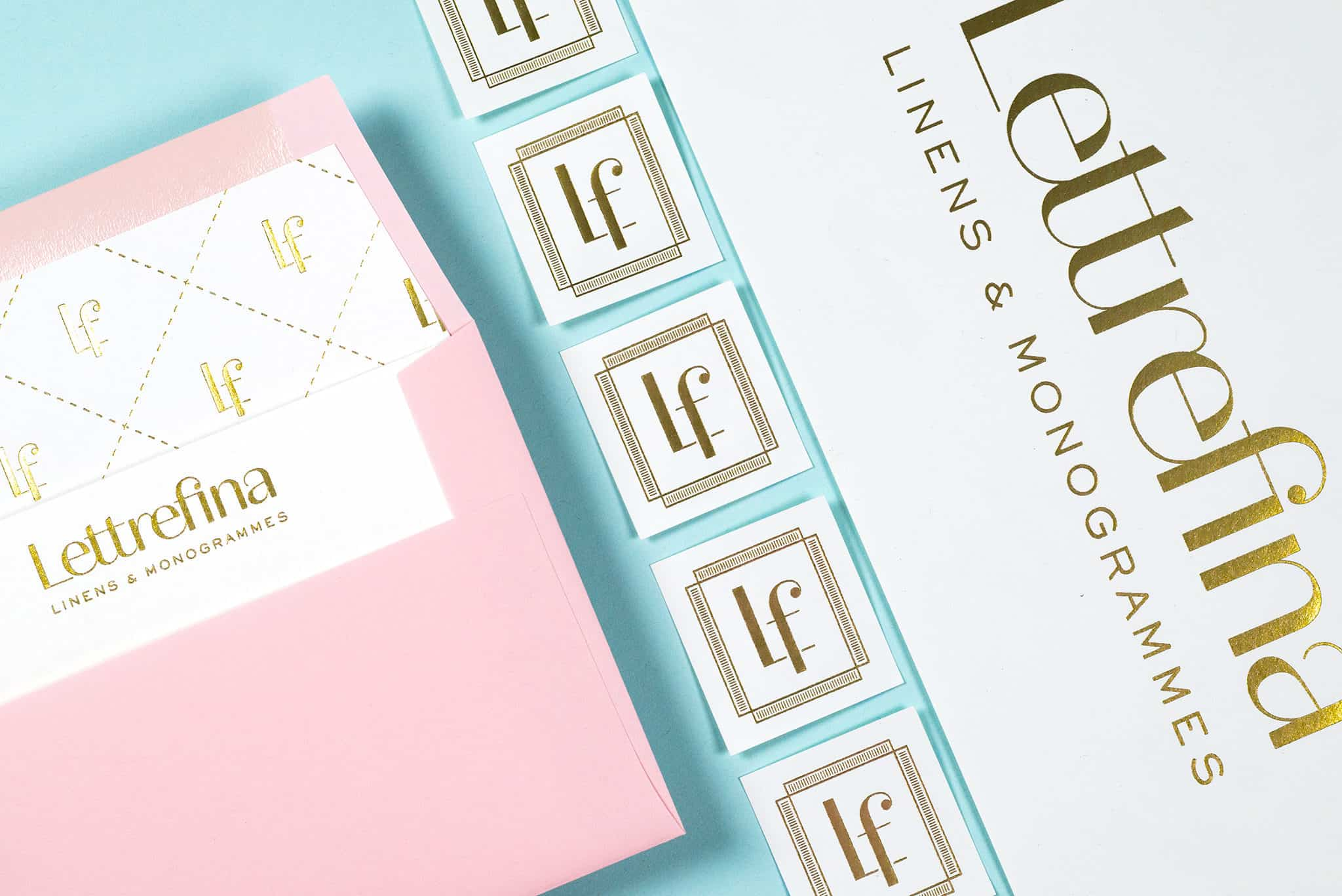 Stationery, envelopes, and foil stamped stickers for Lettrefina Linens & Monogrammes | Designed by Field of Study: A branding and graphic design consultancy | Houston TX | Jennifer Blanco & John Earles