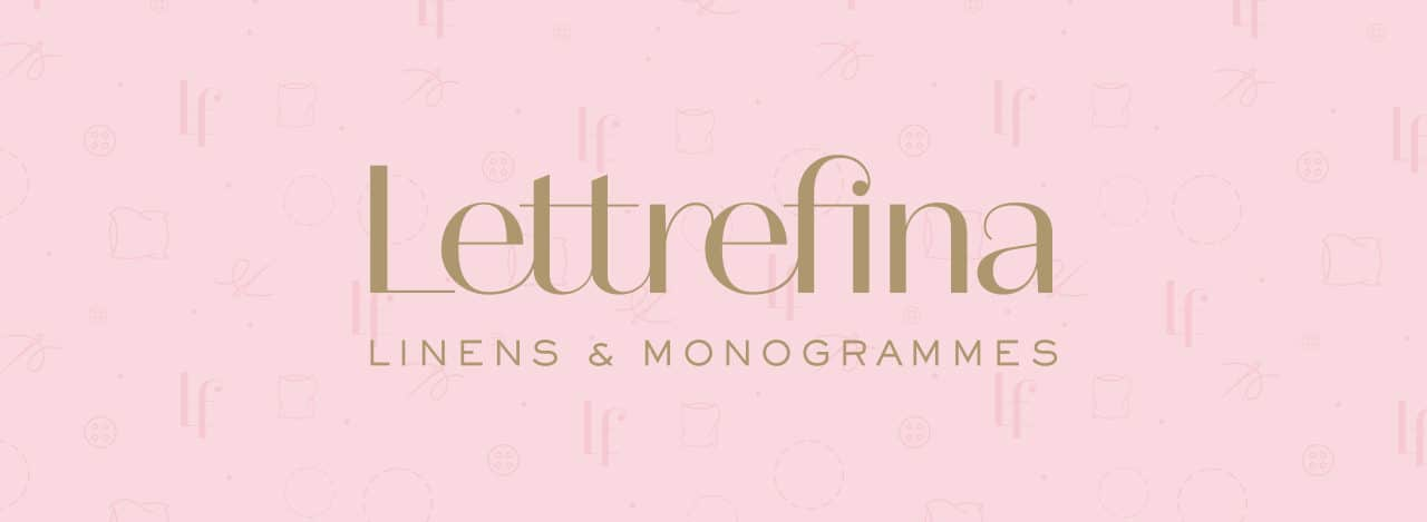 Logo and pattern for Lettrefina Linens & Monogrammes | Designed by Field of Study: A branding and graphic design consultancy | Houston TX | Jennifer Blanco & John Earles