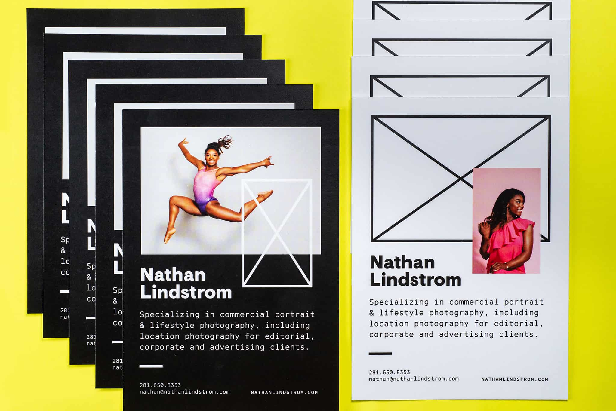 Marketing and promotional notecards for Nathan Lindstrom Photography | Designed by Field of Study: A branding and graphic design consultancy | Houston TX | Jennifer Blanco & John Earles