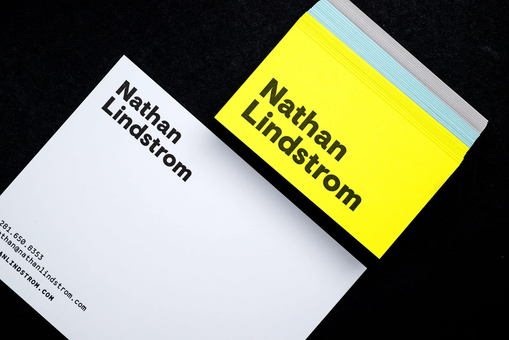 Letterpress printed stationery notecards for Nathan Lindstrom Photography | Designed by Field of Study: A branding and graphic design consultancy | Houston TX | Jennifer Blanco & John Earles
