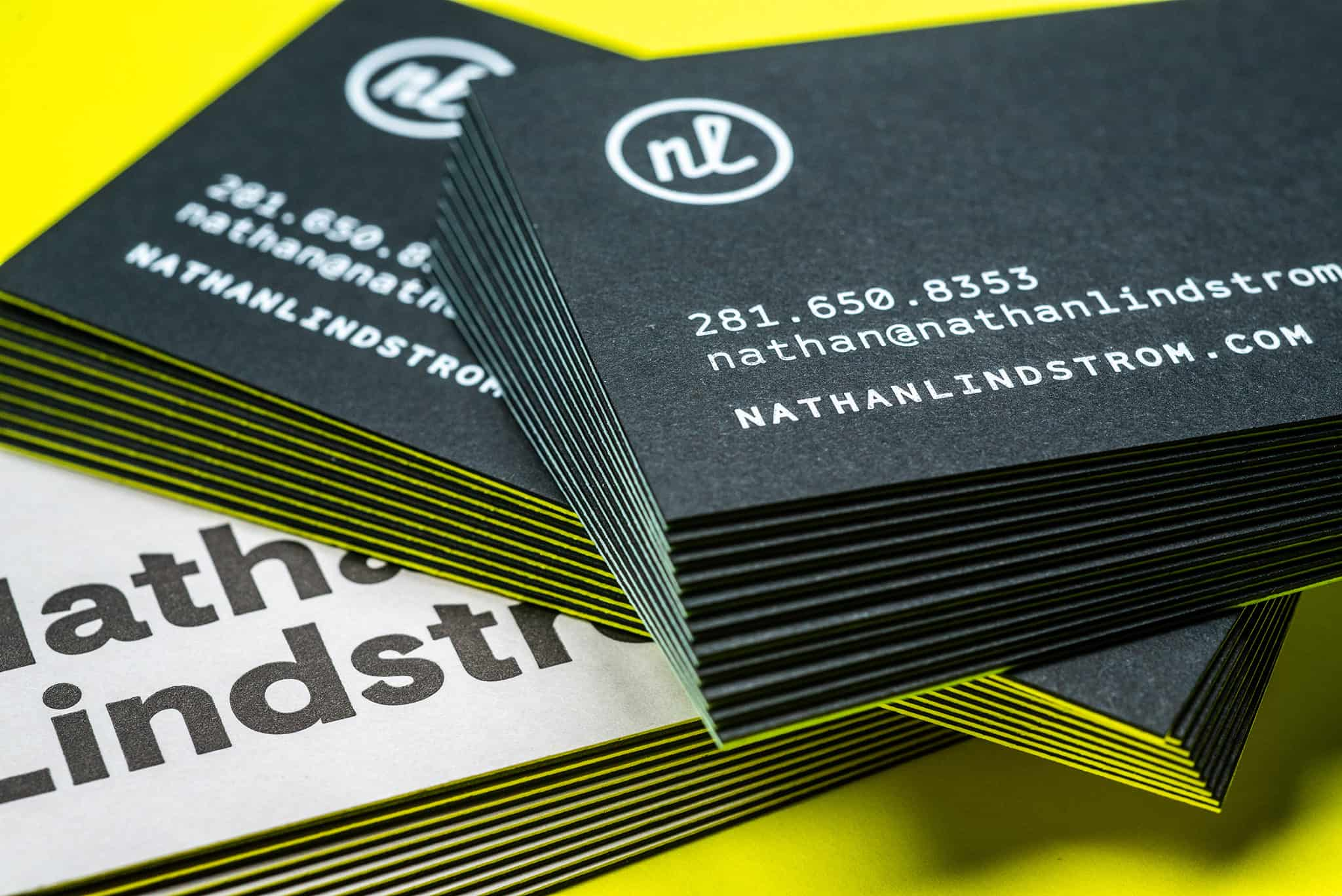 Letterpress printed and foil stamped duplex business cards for Nathan Lindstrom Photography | Designed by Field of Study: A branding and graphic design consultancy | Houston TX | Jennifer Blanco & John Earles