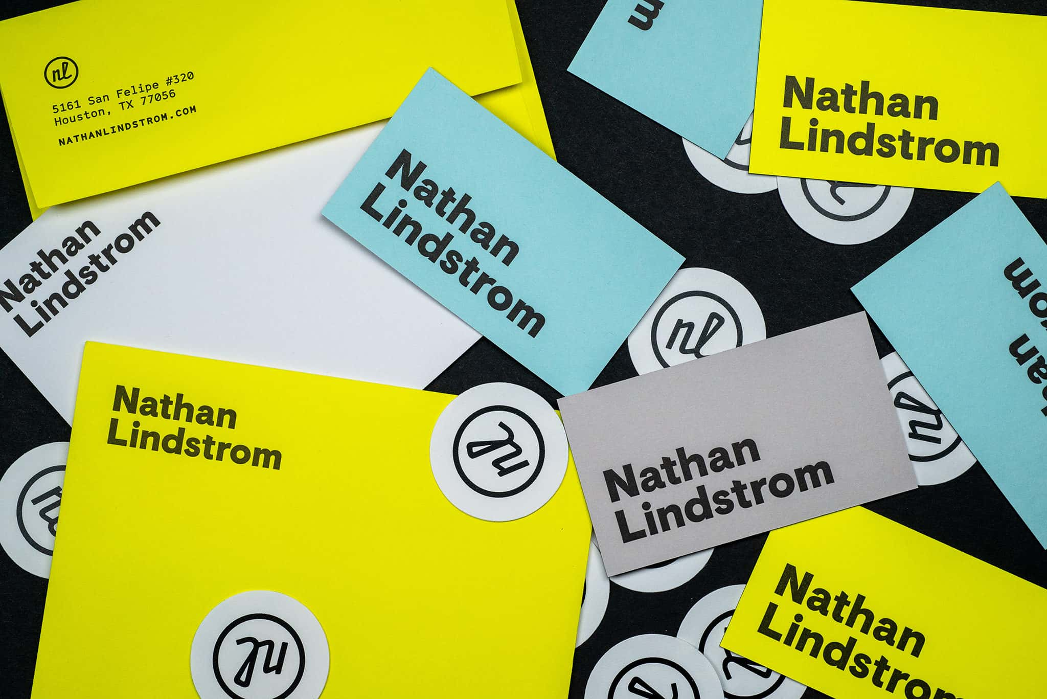 Letterpress printed stationery notecards and stickers for Nathan Lindstrom Photography | Designed by Field of Study: A branding and graphic design consultancy | Houston TX | Jennifer Blanco & John Earles