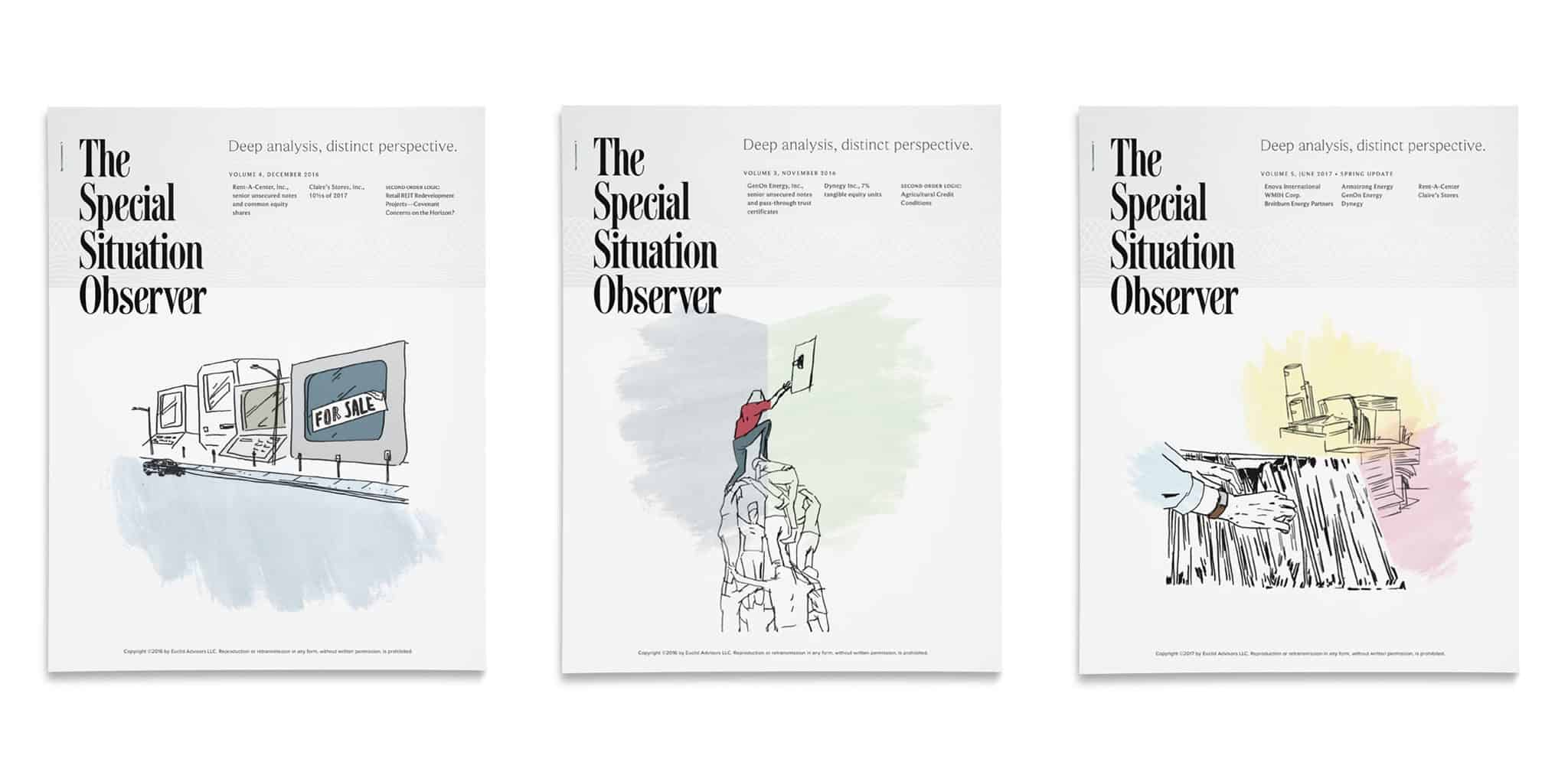 Publication cover design featuring illustrations by Rene Cruz for The Special Situation Observer | Designed by Field of Study: A branding and graphic design consultancy | Houston TX | Jennifer Blanco & John Earles