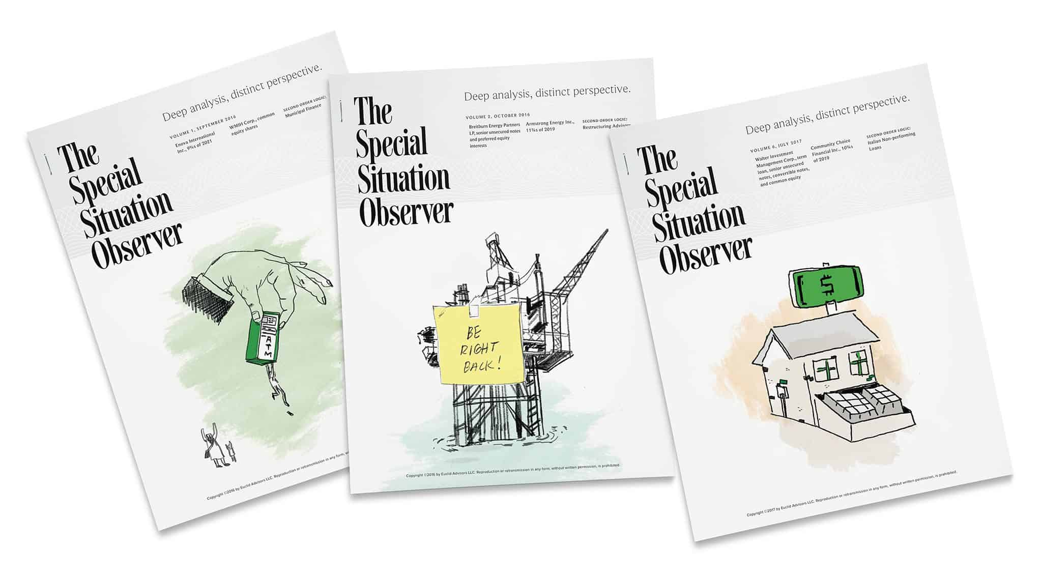 Publication design featuring illustrations by Rene Cruz for The Special Situation Observer | Designed by Field of Study: A branding and graphic design consultancy | Houston TX | Jennifer Blanco & John Earles
