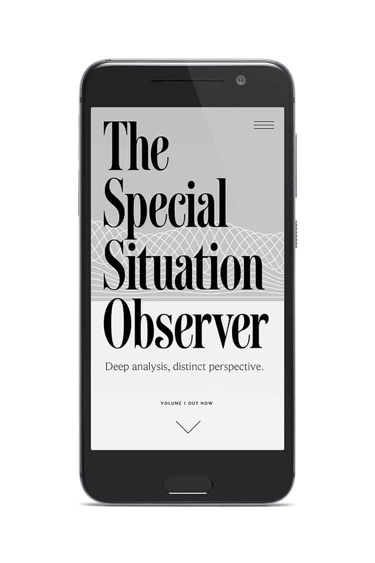 iphone mobile view of the website design for The Special Situation Observer | Designed by Field of Study: A branding and graphic design consultancy | Houston TX | Jennifer Blanco & John