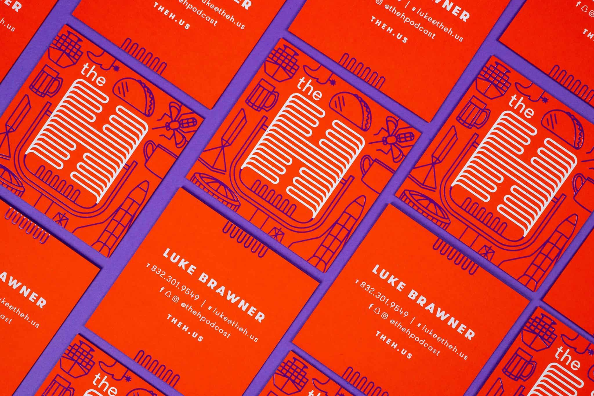 a grid of foil stamped and letterpress printed business cards for Luke Brawner's podcast, The H | Designed by Field of Study: A Design & Branding Consultancy | Jennifer Blanco & John Earles