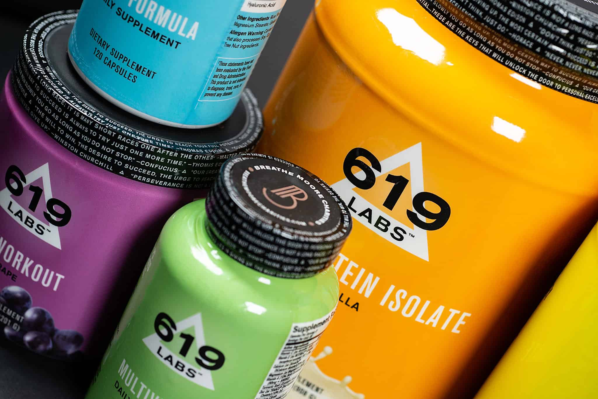 Custom packaging, graphic design, and branding for 619 Labs fitness and nutritional supplements, full product line | Designed by Field of Study: A branding and graphic design consultancy | Houston TX | Jennifer Blanco & John Earles