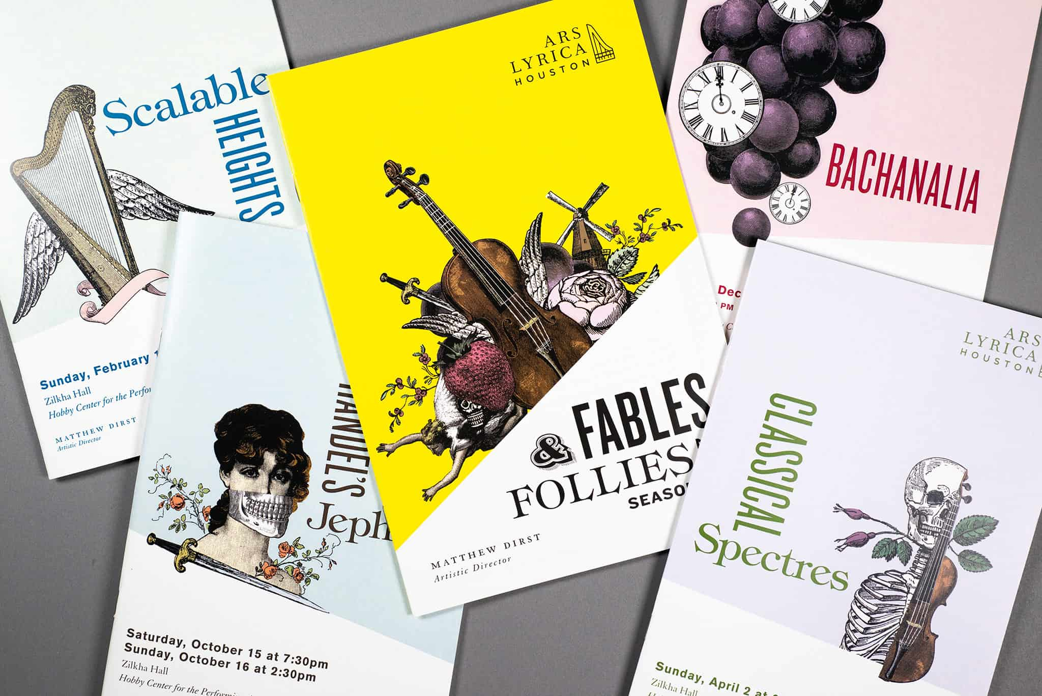 Fables & Follies season covers for Ars Lyrica Houston | Designed by Field of Study: A branding and graphic design consultancy | Houston TX | Jennifer Blanco & John Earles
