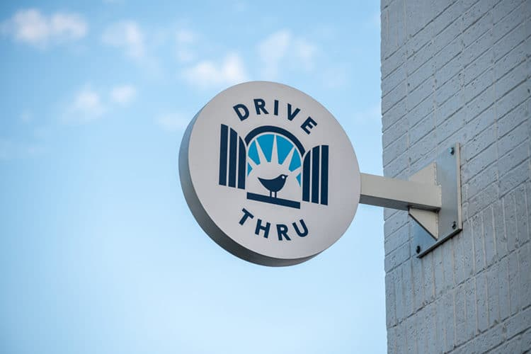 Drive Thru Signage for Kolache Shoppe Heights | Designed by Field of Study: A branding and graphic design consultancy | Houston TX | Jennifer Blanco & John Earles