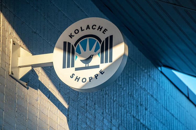 Blade Signage for Kolache Shoppe Heights | Designed by Field of Study: A branding and graphic design consultancy | Houston TX | Jennifer Blanco & John Earles
