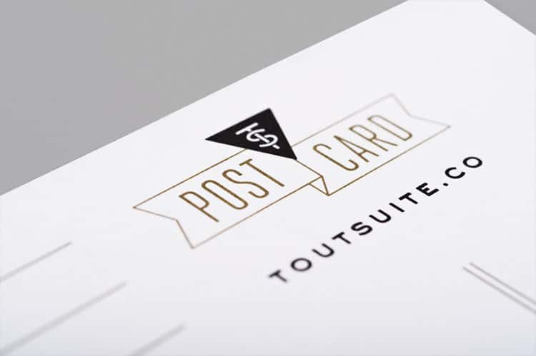 Postcard Design Detail for Tout Suite Cafe | Designed by Field of Study: A branding and graphic design consultancy | Houston TX | Jennifer Blanco & John Earles